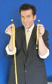 Party Magician in Los Angeles Robert Baxt does a rope trick